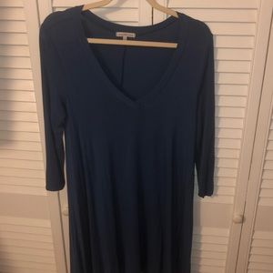 Blue V-neck T-shirt dress